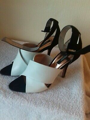 0ad4cd0dc48 Zara Basic black ivory leather suede strappy open toe high heels size uk 7