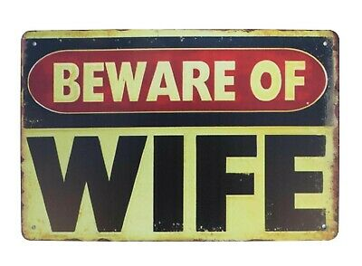 US SELLER, Beware of Wife tin metal sign man cave mancave wall decor