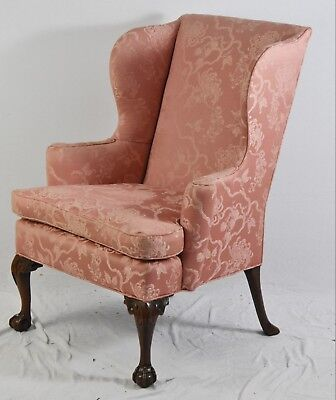 KITTINGER Williamsburg Chippendale Mahogany Wing Chair CW 104 Claw & Ball Feet