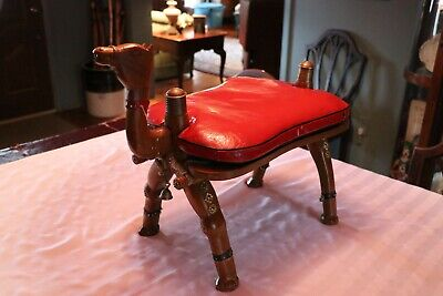 Brilliant Vintage Camel Saddle Foot Stool Red Leather Straw Filled Gamerscity Chair Design For Home Gamerscityorg