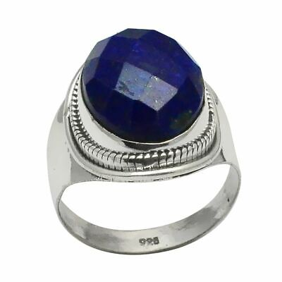 Faceted-Lapis Lazuli Solid 925 Sterling Silver Ring  Jewelry Size-7.75 SR-15285