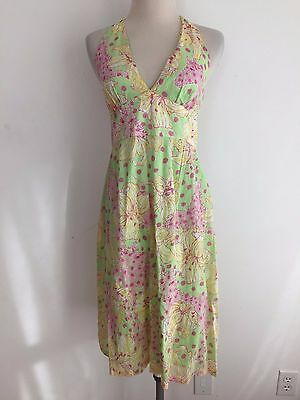 cb3bbe6a5cc6 Lilly Pulitzer Sleeveless Halter Dress Pale Green w/Pink & Yellow Floral  Size 2