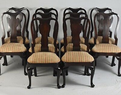 Statton Solid Cherry Queen Anne  Style Set of 10 Dining Chairs