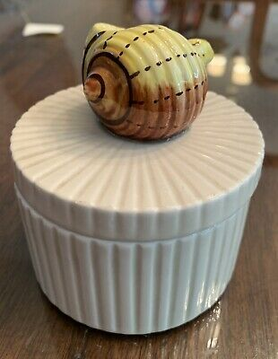 Vintage MCM Fitz And Floyd  CERAMIC TRINKET BOX WITH SNAIL SHELL TOP