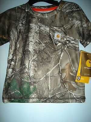 Boys CARHARTT Jersey Polyester T-Shirt Brown Camouflage Size 18 M, NEW with tags