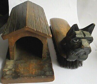 Antique Long or Large Black Forest Carved Wooden Dog with Glass Eyes and Kennel.