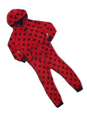 Next Boys Red/Navy Star Fleece Hooded Onezee All in one Sleep Age 9-12mth SALE!