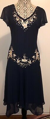 SL Fashions Navy Blue Embroidered Flutter Dress Size 8P NWOT BRAND NEW!