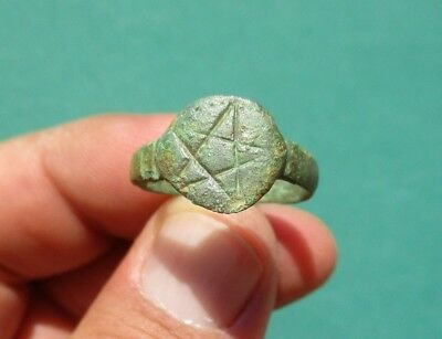 ancient Roman bronze engraved ring displayed a star - pentagram