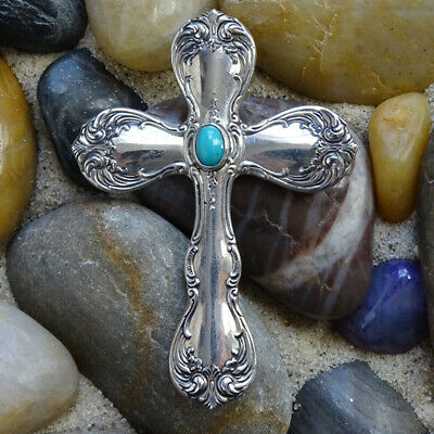 Vintage Towle Old Master Sterling Silver Cross Pendant with Turquoise Stone