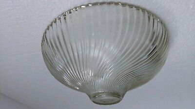 Holophane Glass Light Shade Dome Clear Ribbed Swirl Semi Flush Vintage Scalloped