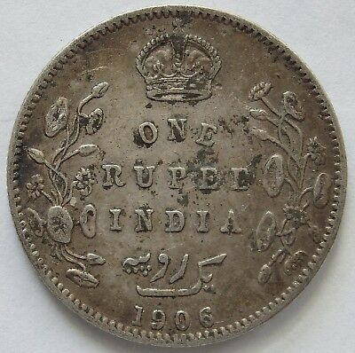 India 1906 Silver 1 Rupee.Average Circulated(LotE11181118)Free Registered Post