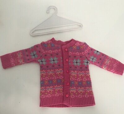 Authentic & Retired American Girl Doll Pink Sweater W/ Buttons Hearts Snowflakes