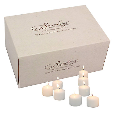 Stonebriar Set of 72 White Unscented Long Burning Votive Candles, Candle for or