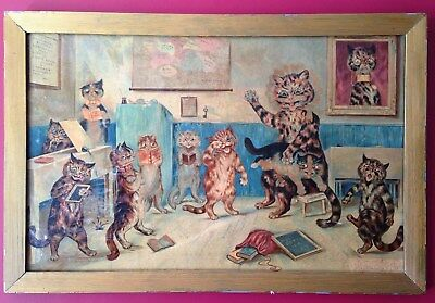 """Early 20th Century Chromolithograph Framed Colour """"The Naughty Puss"""" Louis Waine"""