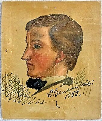 Original Signed 19th century Folk Art Painting PORTRAIT OF YOUNG MAN By E Benson