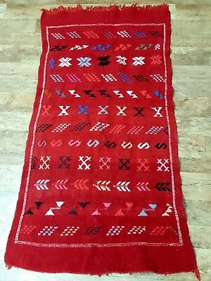 Oriental Authentic Antique. Moroccan Wool Carpet Rug Tapestry Handmade.