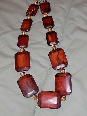 Vintage Gold tone & Square Wooden Bead necklace 22 inch