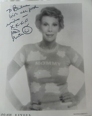 Joan Rivers Hand Signed Autographed 8x10 Promo Photo to Barbara Vintage 1970's