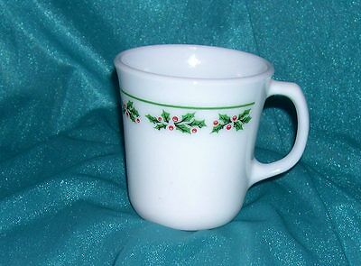 Corelle HOLLY DAYS (1) Coffee Cup Mugs Pyrex/Corning Milk Glass ~ WINTER HOLLY