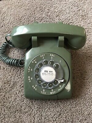 Western Electric Avocado Green Rotary Dial Desk Phone Bell System