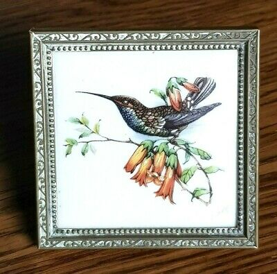 Vintage Framed Signed Limoges Meissner Ceramic Hand Painted Humming Bird Tile