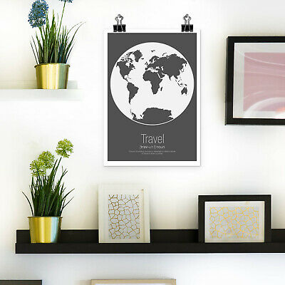 World Map Poster Print Wall Art Globe Design Minimalist Scandi Dark Grey A4 & A3