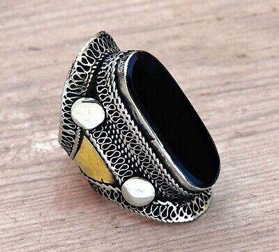 Black Onyx Ring Kuchi Tribal Afghan Jewelry Carved Bohemian Saddle Ethnic Boho