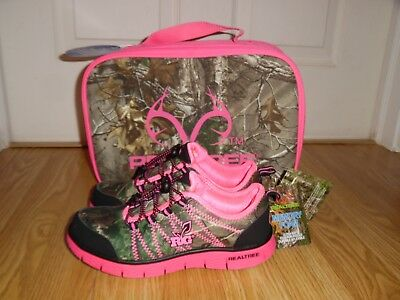 153aa965d09e0 NEW Realtree Girl's Youth size 13 3 Medium Pink Camouflage Shoes Lunchbox