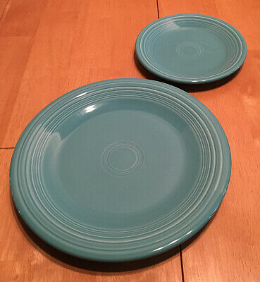 Fiestaware 2-Piece Lot Turquoise Teal Plate Set Fiesta Dinner & Salad Plates