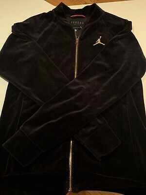 473a45c5c501e8 NEW MEN S NIKE AIR JORDAN VELOUR FULL ZIP JACKET BLACK GOLD SIZE Small W O