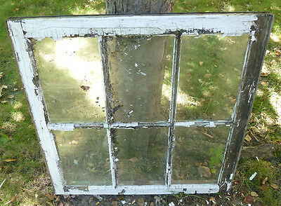 Vintage Wood Sash 30x29 6-Panel Glass Double Hung Window Pane Craft Project #2
