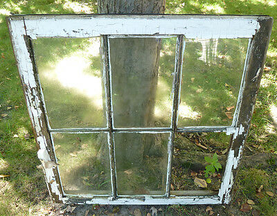 Vintage Wood Sash 30x29 6-Panel Glass Double Hung Window Pane Craft Project #1