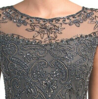 92e0091b13942 Pisarro Nights Illusion Long Beaded Gown Smoke Color Mother of The Bride  Size 10