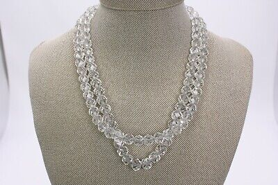 Double Strand Cut Faceted Crystal Necklace Sterling Chain Vtg Antique 17""