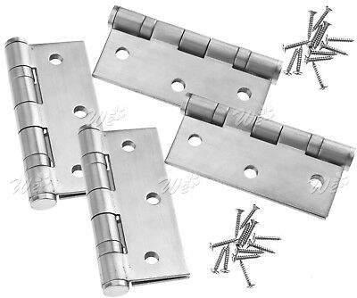 "2 Pair 3"" Double Ball Bearing Butt Door Hinge Fire Rated FD30/60 Stainless Steel"