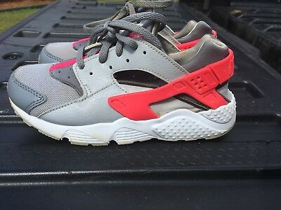 sneakers for cheap b99cb c2210 Nike Girls Huarache Run Shoes White Grey Pink 704951-006 Size 3Y GUC