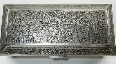 Antique Islamic Persian Silver hinged lid Box Arabic calligraphy Islamic Motif