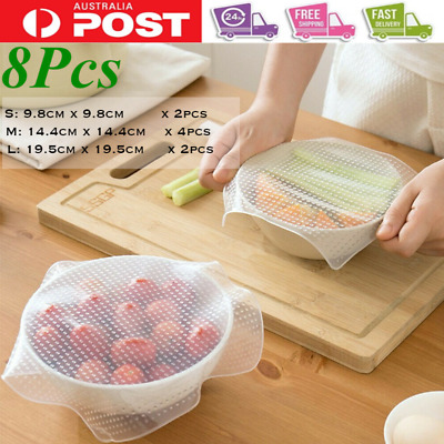 8Pieces Reusable Food Stretch Storage Lids Durable Seal Silicone Can Bowl Covers