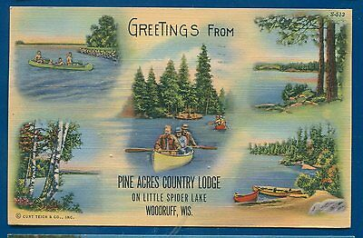 Pine Acres Country Lodge Little Spider Lake Woodruff Wisconsin wi linen postcard
