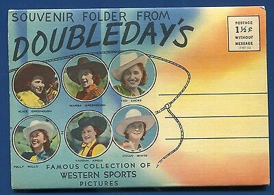 Western Sports Pictures Doubledays Bronco Riding Rodeo 1940s postcard folder