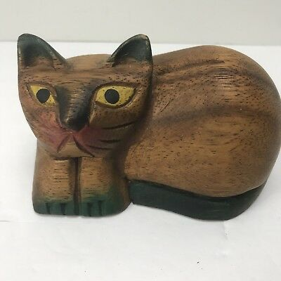 Hand Carved & Painted Wood Cat