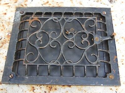 "Vintage Ornate Heat Register Cast Iron Wall Grate Lever Vent Lever 111/4""x 91/4"""