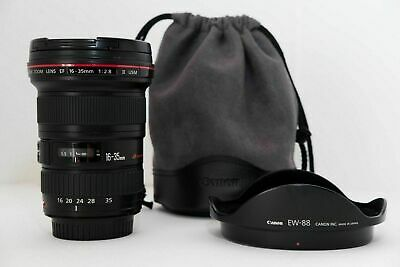 Canon EF 16-35mm f/2.8 L ll USM lens with both caps and hood