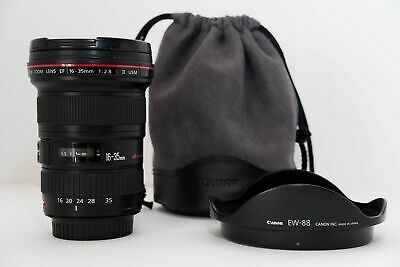Canon EF 16-35mm f/2.8 L ll USM lens with both caps, pouch and hood