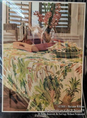 """New Tommy Bahama Home Tortuga Tablecloth 70"""" Round Indoor/Outdoor Tropical Theme"""