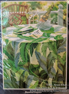 """NEW TOMMY BAHAMA HOME BANANA LEAVES TABLECLOTH 60"""" x 102 OBLONG TROPICAL SUMMER"""
