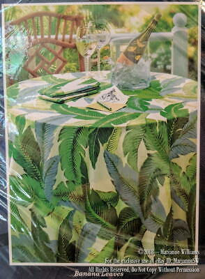 """NEW TOMMY BAHAMA HOME BANANA LEAVES TABLECLOTH 60"""" x 84 TROPICAL INDOOR/OUTDOOR"""