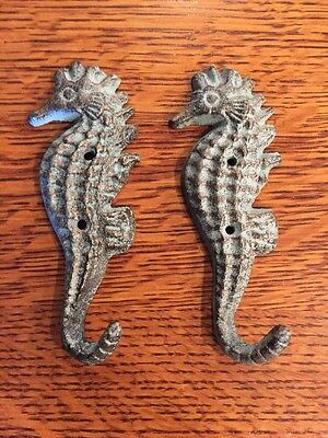 2 Pretty Nautical Cast Iron Seahorse Sea Horse Hook Coat Towel Shabby Beach Keys