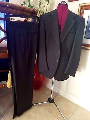 Burberry London Men's Pants Suit Small 2 Pc Dark Gray Jacket Vented Wool Italy